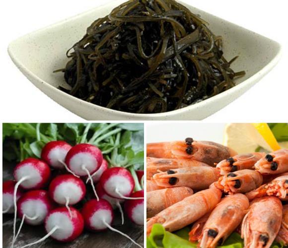 Морская капуста, морепродукты и редис содержат много йода