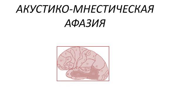 В основе акустико-мнестической афазии лежит снижение слухоречевой памяти