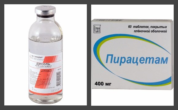 Солевой раствор и ноотропный препарат